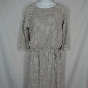 Boden grey polka dot 3/4 sleeve dress S